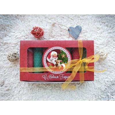 Набор свечей новогодний с Дедом Морозом